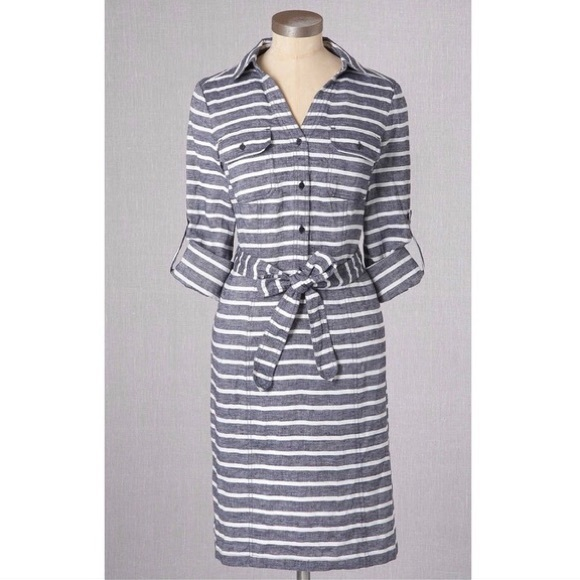 lace up in no sale tax new collection Boden Blue & White Striped Linen Shirt Dress